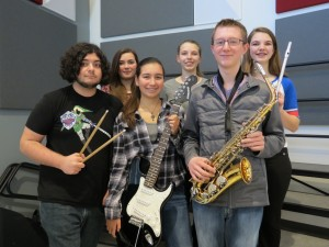 Ayer/Shirley Regional HS Jazz Ensemble (back) Erin Shine, Sierra Pyatt, Savannah Pyatt, (front) Ryan Messcher, Brooke Martinez, Jacob Miska