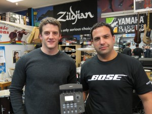 BOSE Rep Joe Douillard and Steve Rines hold the TONEMATCH Audio Engine